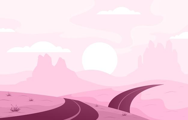 Dia no vasto deserto da américa ocidental com ilustração de paisagem de horizonte de cacto