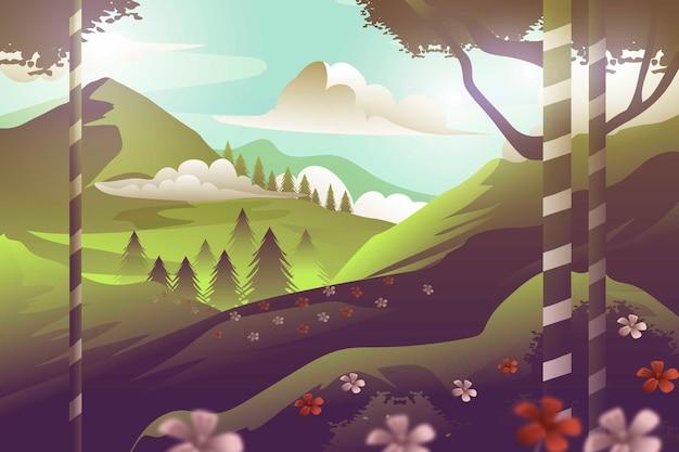 Dia nublado na paisagem de primavera floresta