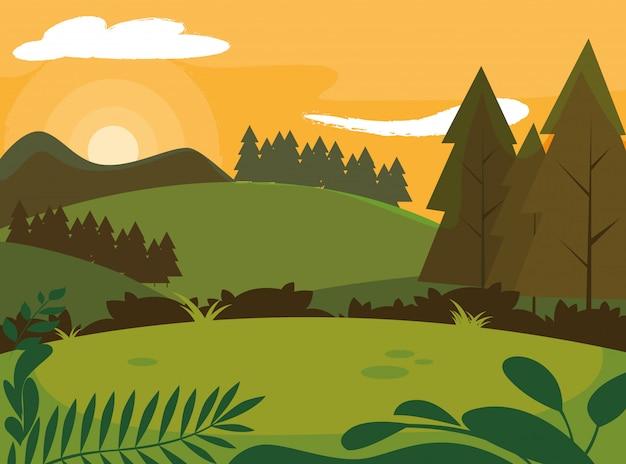 Dia paisagem com pinheiros árvores cena natural