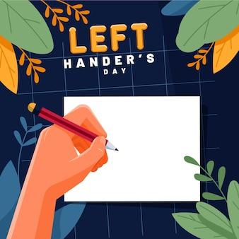 Dia para canhotos com escrita à esquerda