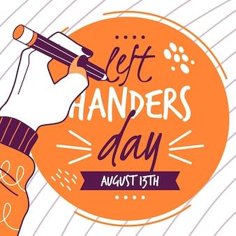 Dia para canhotos com escrita à mão