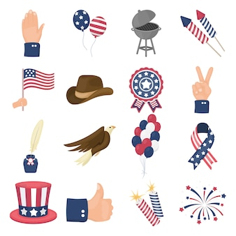 Dia patriota dos desenhos animados icon set vector. ilustração em vetor de patriota do dia americano.