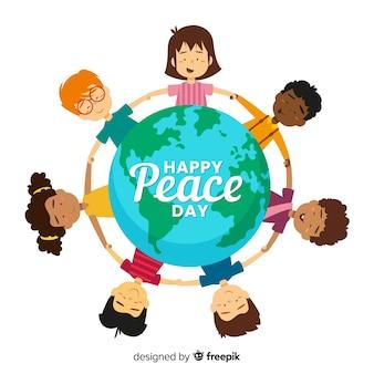 Dia plano de paz das crianças de mãos dadas