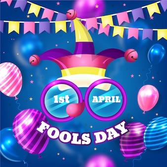 Dia realista de tolos de abril com guirlandas e balões