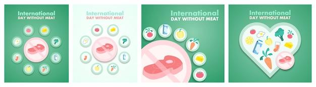 Dia sem carne. meatout para uma alimentação saudável e equilíbrio.