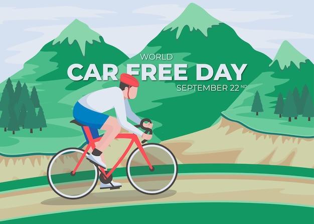 Dia sem carro. pessoas andando de bicicleta nas montanhas e escrevendo 'dia sem carro. 22 de setembro