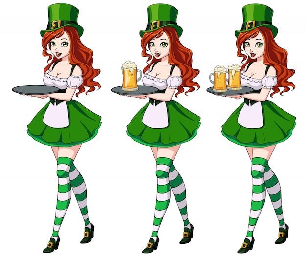 Dia sexy de st patrick s meninas segurando conjunto de cerveja