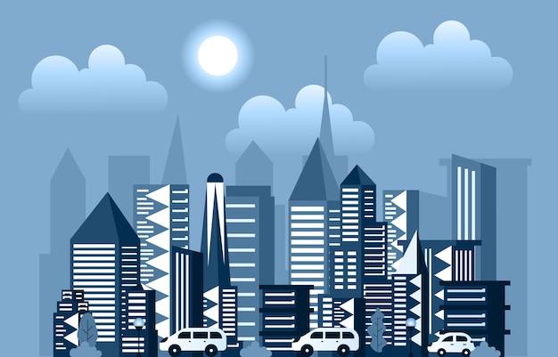 Dia sol moderno cidade edifício arranha-céu paisagem urbana ilustração do horizonte
