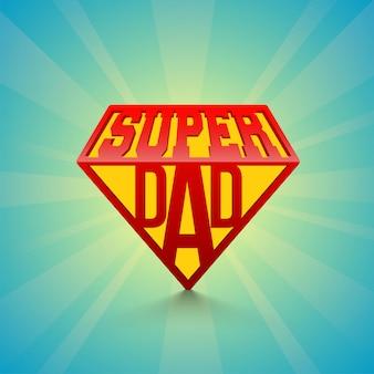 Dia super do texto à moda no fundo dos raios do azul. feliz dia do pai celebração conceito.