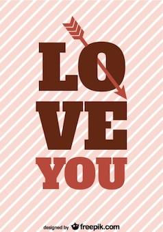 Dia tipografia design de cartão de seta retro dos namorados