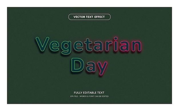 Dia vegetariano com efeito de texto editável em estilo neon