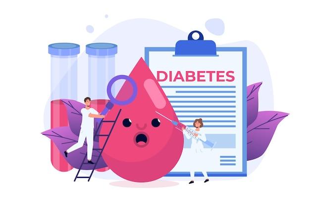 Diabetes, alto nível de açúcar no conceito de pessoas de sangue. ilustração vetorial.