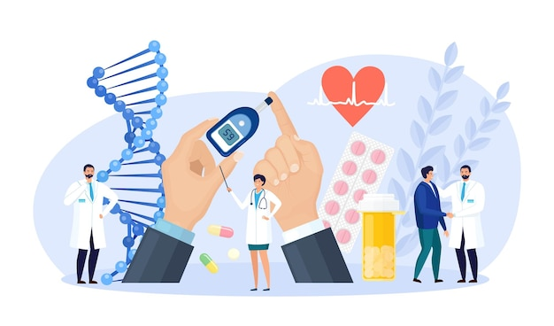 Diabetes. médicos testando sangue para glicose, usando glicosímetro para diagnóstico de hipoglicemia ou hiperglicemia. equipamento de laboratório, comprimidos. médico medindo o nível de açúcar. dia mundial da conscientização do diabético