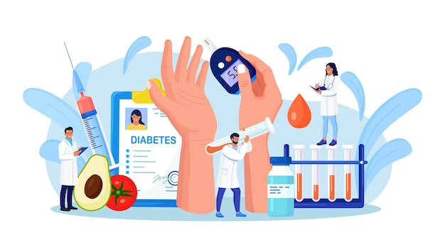 Diabetes. médicos testando sangue para glicose, usando glicosímetro para diagnóstico de hipoglicemia ou hiperglicemia. equipamento de laboratório, seringa. médico medindo o nível de açúcar. dia mundial da conscientização do diabético