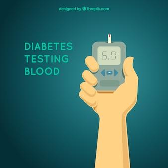 Diabetes testando composição de sangue com design plano
