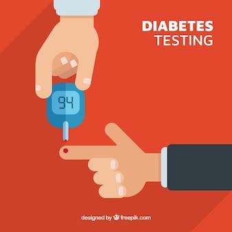 Diabéticos testando sangue com design plano