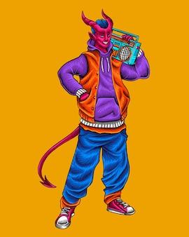 Diabo ao estilo hiphop urbano segurando um rádio