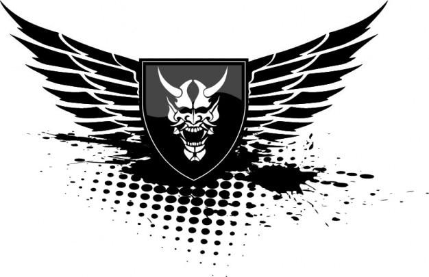 Diabo asas escudo preto do ícone do vetor