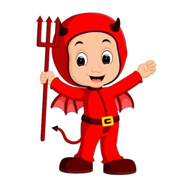 Diabo bonito dos desenhos animados de crianças