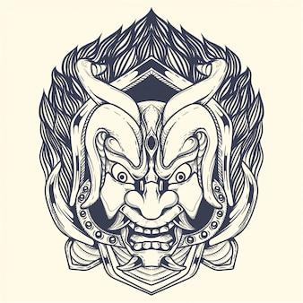 Diabo com ilustração de obras de arte de chifre