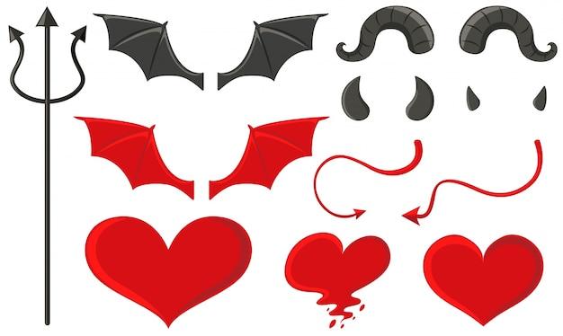 Diabo conjunto com tridente e outros elementos