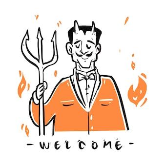 Diabo desenhado de mão com saudação de fogo