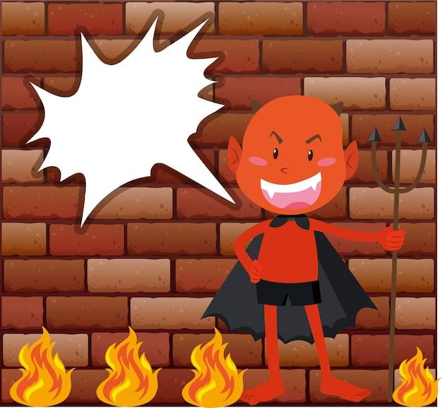 Diabo e fogo na frente da parede de tijolos