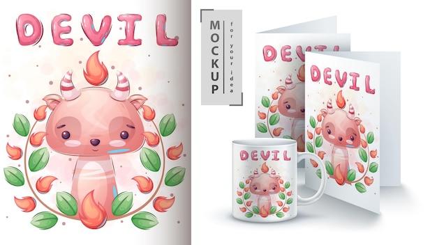 Diabo em cartaz de flores e merchandising, vetor eps 10