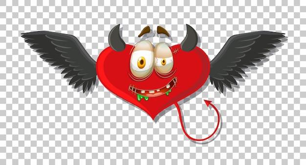 Diabo em forma de coração com expressão facial