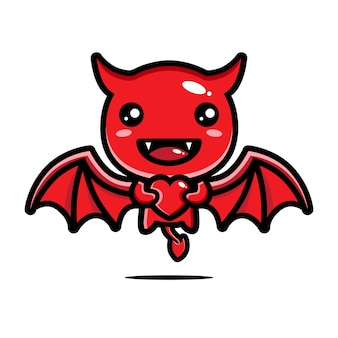 Diabo fofo está abraçando um coração