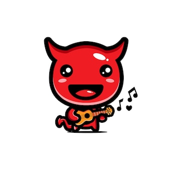 Diabo fofo está tocando guitarra