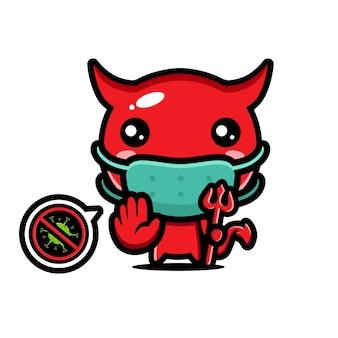 Diabo fofo está usando uma máscara