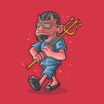 Diabo legal com ilustração de tridente estilo grunge