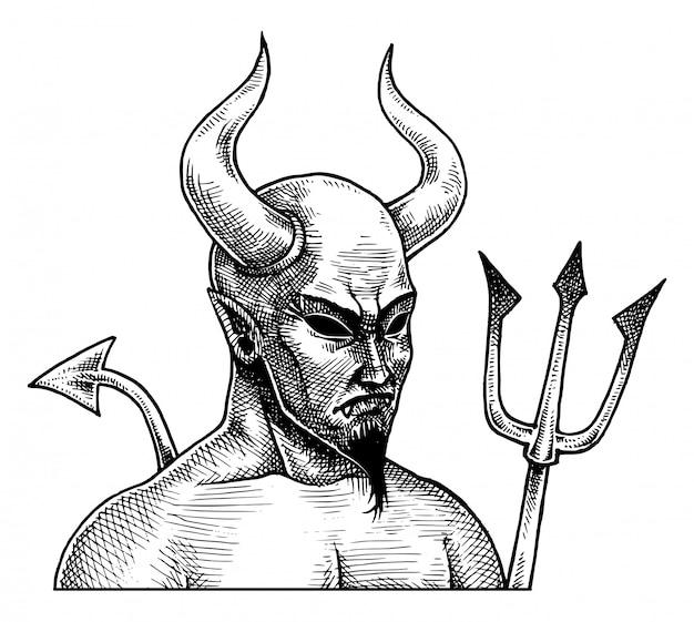 Diabo mal assustador, vetor de desenho de mão desenhada