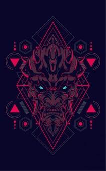 Diabo máscara geometria sagrada