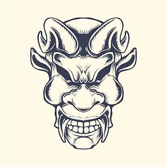 Diabo rosto cabeça linha tinta ilustração