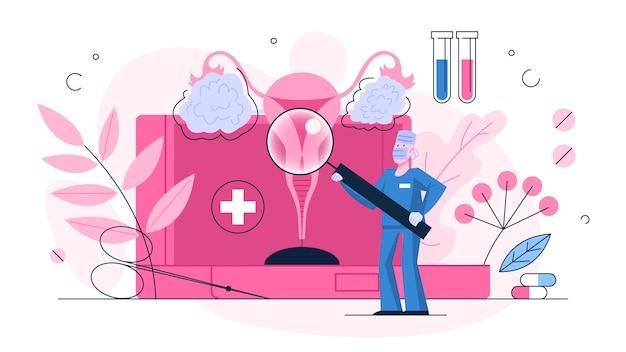 Diagnóstico de câncer de ovário. ideia de saúde e tratamento médico. o médico verifica os ovários. doença do sistema reprodutor feminino. ilustração