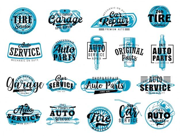 Diagnóstico de carro, rotulação de serviço de loja de autopeças