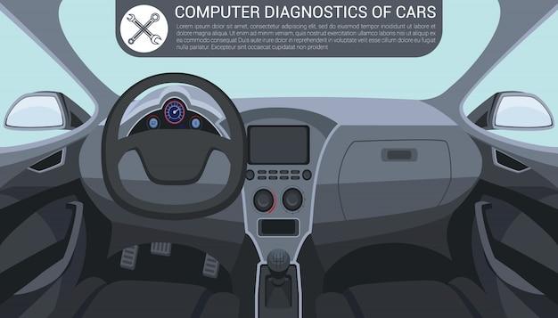 Diagnóstico de computador do carro. interior do carro dentro.