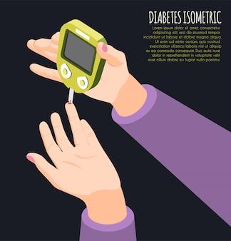 Diagnóstico de diabetes isométrico com mão humana segurando o medidor mede ilustração vetorial de nível de açúcar no sangue