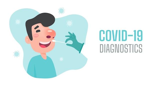 Diagnóstico de doença nasal do paciente para teste de infecção por coronavírus.