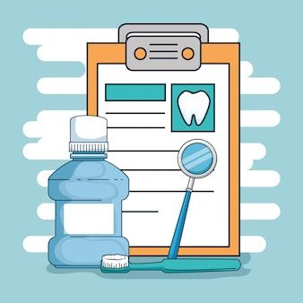 Diagnóstico de medicina dentária com espelho bucal