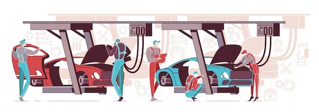 Diagnóstico do carro feito por trabalhadores na garagem.