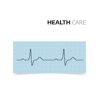 Diagnóstico médico de batimentos cardíacos e freqüência cardíaca. cardiograma do coração de saúde. curva de heartbaet em papel milimetrado. ilustração