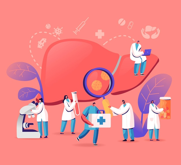Diagnóstico médico, dia mundial da hepatite a, b, c, d, conceito de cirrose, ilustração plana dos desenhos animados