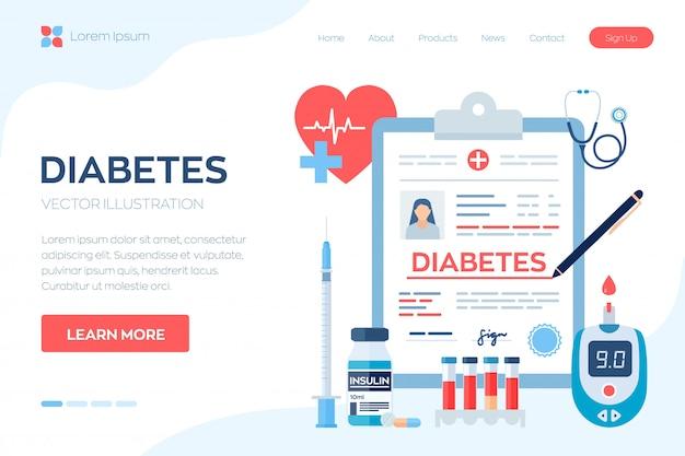 Diagnóstico médico - diabetes. diabetes mellitus tipo 2 e conceito de produção de insulina.