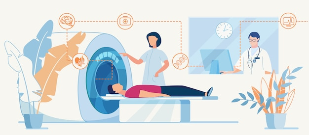 Diagnóstico por tomografia computadorizada ou ressonância magnética em clinic flat