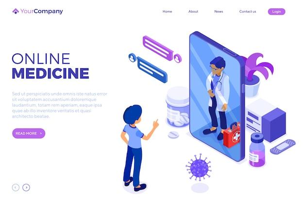 Diagnósticos médicos on-line isométricos e local de trabalho dos médicos.