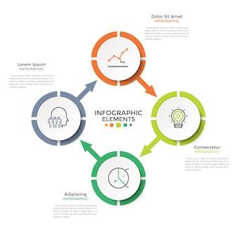 Diagrama cíclico com 4 elementos redondos brancos de papel conectados por setas. layout do projeto criativo infográfico. ilustração vetorial em estilo moderno e limpo para visualização do ciclo de negócios de quatro etapas.