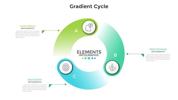 Diagrama cíclico de gradiente colorido com 3 elementos redondos, símbolos de linha fina, letras e caixas de texto. conceito de visualização do ciclo de produção. modelo de design moderno infográfico. ilustração vetorial.